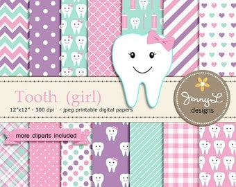 Tooth Girl Digital Paper and Clipart SET, Dental Care, Teeth, Toothpaste, Toothbrush for Baby Shower, Birthday  and Scrapbooking Paper Party