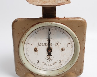 Antique Metal Kitchen weighing scale, From Soviet Russia (CI740)