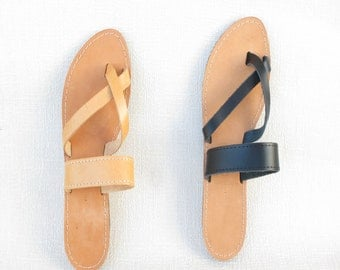 Natural Leather Sandals, Genuine Leather, Women Flip Flops, Made In Greece, X Shape, Leather 100%, Tie Up Leather Sandals