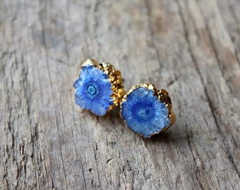 Gold Edged Paradise Blue Quartz Stud Earrings