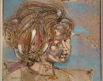 Angela -  Mid Century Modern Portrait by Florentine Artist Lazzaro Donati