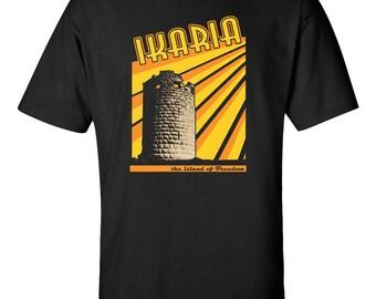 Ikaria T-Shirt Ikaros Drakano Tower Faros Icarus Evdilos Ikarian Greece Greek Island Ikarus Kirikos