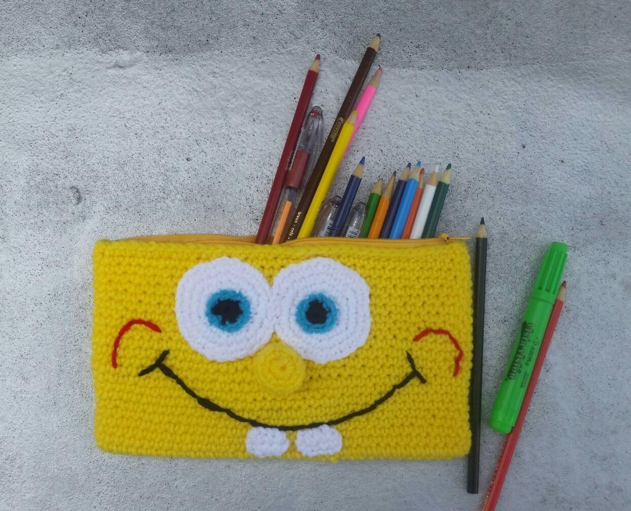 Amigurumi Bunny Pencil Holder : Crochet spongebob pouch purse pencil case amigurumi