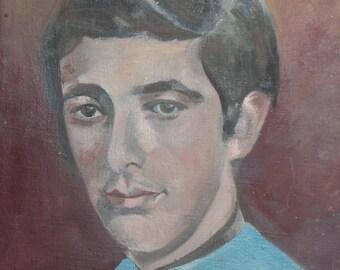 Boy portrait vintage oil painting