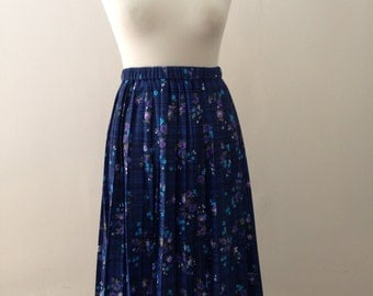 Navy Floral Pleated Skirt