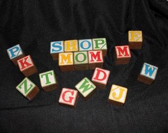 Vintage Wood Alphabet Blocks