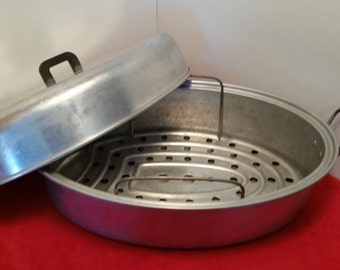 vintage aluminum roaster / wear ever chicken roasting pan with rack, #5052 tacuco