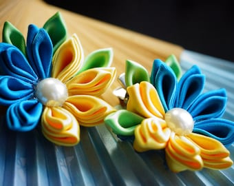 Two-coloured hair clip kanzashi