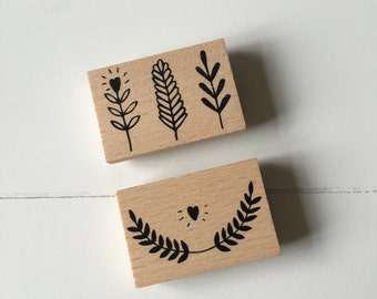 Set of 2 wood rubber stamps (SA03)