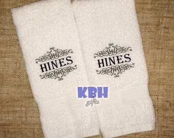 Embroidered Last Name Hand Towels / Personalized Hand Towels