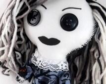 Misty, Rag Doll, Goth Doll, Cloth Doll, Creepy Cute, Weird stuff, Strange girl, button eye doll, creepy toys, creepy girl, Plush, Yarn hair