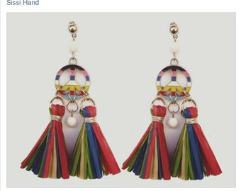EARRINGS PEACE TASSEL rafia raffia multicolor multicolored charms crystal white blue red green freedom rainbow pompom  bijoux fantaisie folk