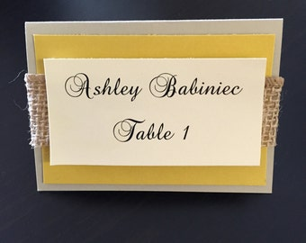 Layered Placecards With Burlap Band, Burlap Ribbon. Customize To Fit Your Wedding Colors. 25/qty.