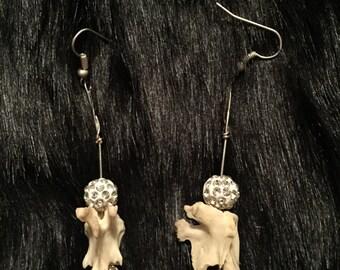 Animal Bone Earrings with Sparkle Beads