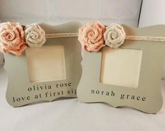 New baby girl gift, personalized newborn gift, baby girl frames