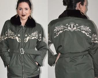 Vintage Bogner Embroidered Ski Coat (Size M)