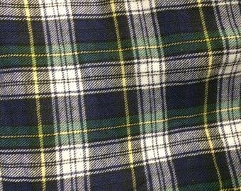 Plaid Flannel (Blue Green White) 100% Cotton