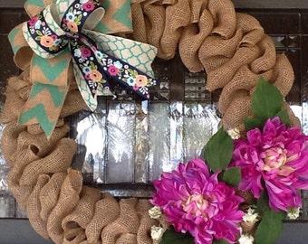 Spring Wreath, Chevron Wreath, Burlap Wreath, Summer Wreath, Easter Wreath