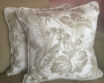 """One Lovely Linen SCALAMANDRE 'Tropical Toile' 19"""" Pillow Cover, Beige/Cream"""