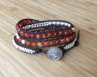 CatMar Beaded Orange Agate and Silver Plated Rounds Wrist Wrap Bracelet with Dark Brown Greek Leather Cord and Antique Silver Button