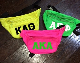 Sorority Neon Fanny Pack with Greek Letters