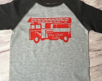 Firetruck Chief Birthday shirt, Fireman birthday shirt, Firetruck t-shirt, fire truck shirt, firetruck birthday party