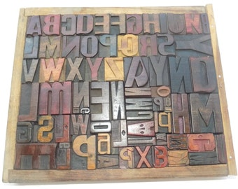 50% Discount 74 Vintage Letterpress Wood Type All Letter in Mix size & mix fonts for decoration, craft and many other use.#Te-20