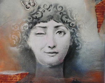 Medium acrylic painting, fornasetti, copper, women face,black, white, circles, grey, collage by Beate Frieling