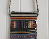 Fairtrade  cross shoulder Gheri Cotton Bag, Messenger Bag, Boho style, Unisex, Handmade in Nepal