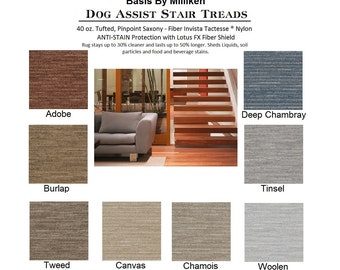 """8""""x24"""" Dog Assist Carpet Stair Treads - BASIS 40 Oz. Tufted Pinpoint Saxony NYLON by Milliken - Quantity per SET Selection Available"""