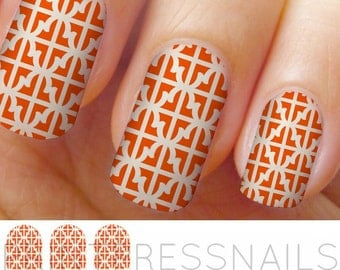 Orange and White Geometric Nail Wraps, Nail Art, Nail Decal, Nail Tattoo, Nail Stickers
