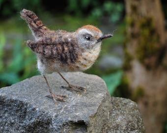 Needle Felted Wren-Bird Sculpture, Winter Wren, Wild Bird, Backyard Bird,Songbird, Collectible, Nature Decor