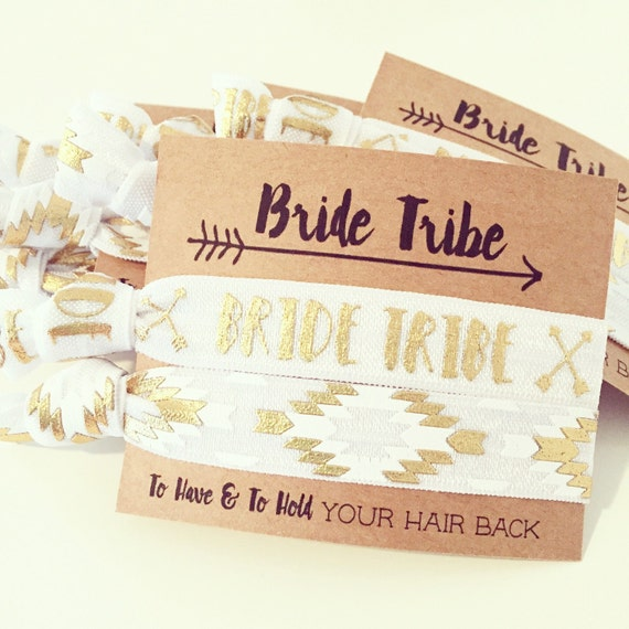 Bride Tribe Bachelorette Hair Tie Favor | White + Gold Boho Hair Tie Favors, White + Gold Bachelorette Party Hair Ties Aztec Tribal Boho