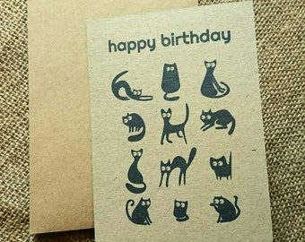 "Black cats ""Happy Birthday"" greeting card"