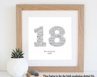 18th ANNIVERSARY GIFT - Word Art - Printable Art - 18 Year Anniversary - 18th Wedding Anniversary - Personalised Gifts - Last Minute GIft