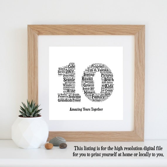 10th Anniversary Gift Word Art Printable Art 10 Year