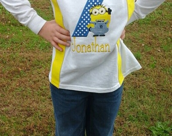 Minion birthday shirt with suspenders and bow tie