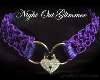 Night Out Collar, Elegant hand knotted dress BDSM collar with heart shaped lock.