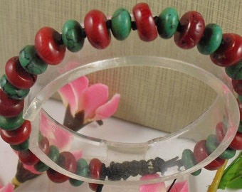 Inca Shadow Lemurian Jade  and Coral Beaded Hand Knotted Bracelet