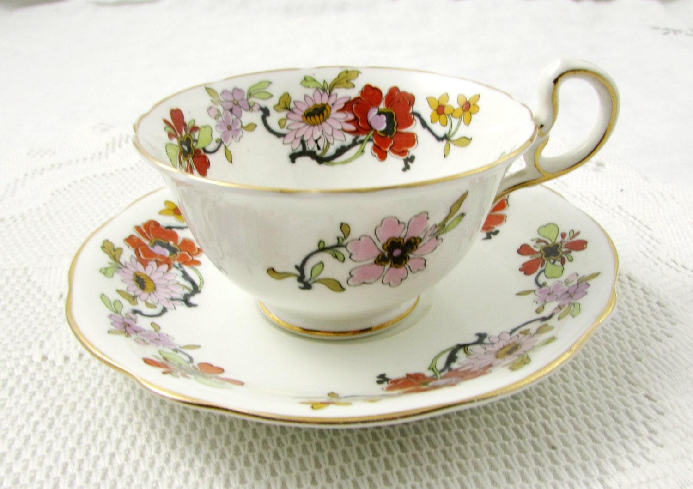 vintage aynsley tea cup and saucer with flower garland bone. Black Bedroom Furniture Sets. Home Design Ideas