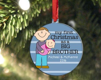 Sibling Christmas Ornament, Big Brother Ornament, Big Brother Little Sister Gift, Double Sided Custom Hair and Skin