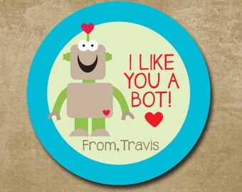 Robot Stickers for Valentine's Day, Personalized Valentine Day Stickers Kids, I like you a Bot,  Treat Bag Stickers, Classroom Valentine