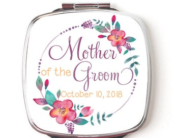 Mother of the Groom Mirror, Personalized Compact Double Sided Pocket Mirror, Bridal Party Gift, Mother of the Groom Gift, Floral Wreath