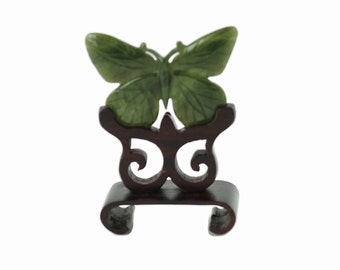 Vintage Carved Jade Butterfly on Fitted Carved Wood Display Stand Made in Hong Kong