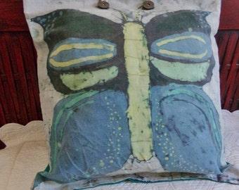 Handmade Batik Butterfly Pillow - Signed - [#216 - TB - underbed]