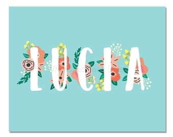 Lucia Personalized Name Sign Printable Name Sign Printable Art Printable Wall Art Birthday Party Decor Baby Name Sign Party Printable