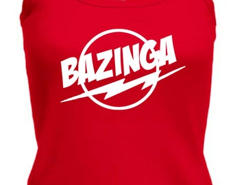 Ladies Strappy String Vest Top The Big Bang Theory Inspired Bazinga Sheldon