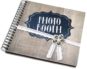 Vintage Shabby Chic Hessian Look Photo Booth Guest Album Black Pages White Pages 25cm x 25cm