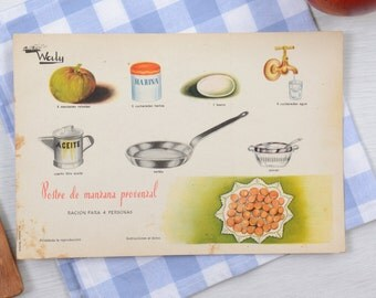 Recipe, vintage recipes,Vintage food poster, recipe card French, kitchen accessories, gift for chef