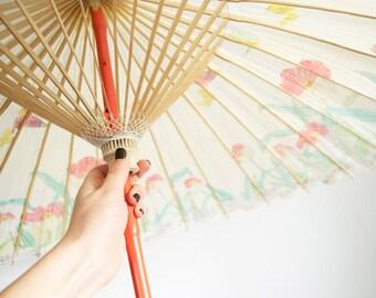 Sensai parasol • vintage  1960s japanese lawn umbrella • floral 60s bamboo and paper parasol
